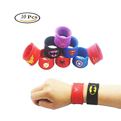 zanskar Bracelets pour Enfants,Super-héros Bracelets,10 Slap Bracelets pour Enfants Slap Bracelets Cadeau pour Fête d'anniversaire Invited Bracelet Enfant Toy
