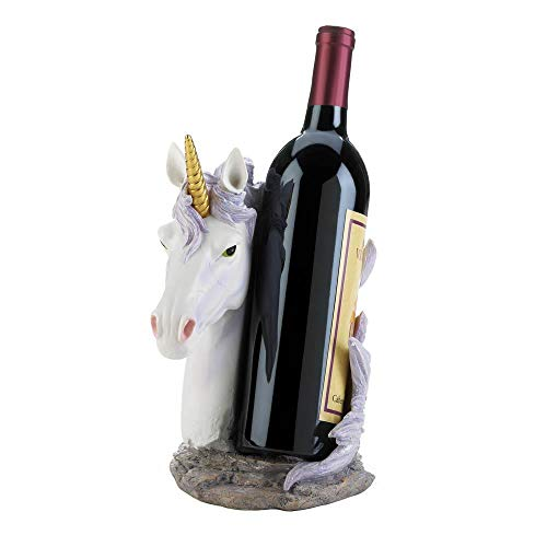Anna'a Attic Magical Enchanted Storybook Unicorn Wine Bottle Holder Kitchen Counter Table Bar Top Figure
