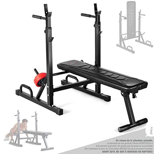 Sportstech Banc de Musculation innovant 21 en 1 avec Support de Plaque de Musculation et poignées de poussée, Pliage Intelligent, Banc d'entraînement BRT300, Pieds antidérapants, Rembourrage Eva