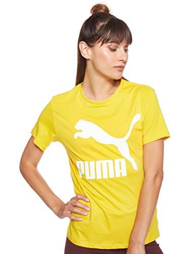 PUMA Damen T-Shirt Classics Logo Tee, Sulphur, M, 595514