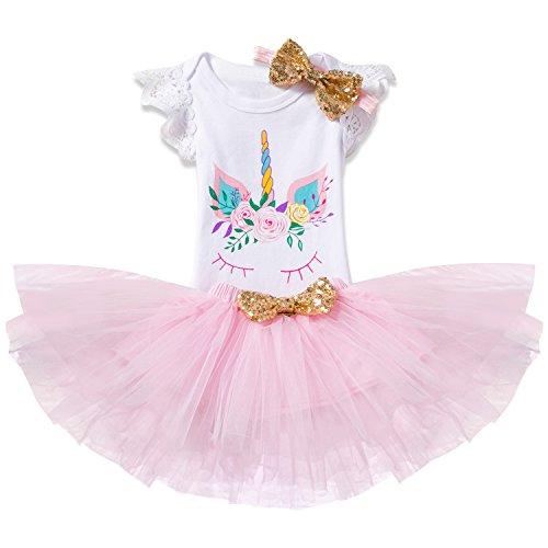 Leggings 4-24 Meses TTYAOVO Bebita 1er Cumplea/ños Princesa Tutu Falda Ropa Conjunto de 3 Piezas Trajes Mameluco Falda Diadema