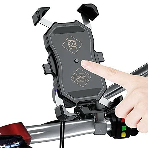 Motocicleta Moto Teléfono Titular Cargador Qi Rápido Inalámbrico+USB Carga Montaje