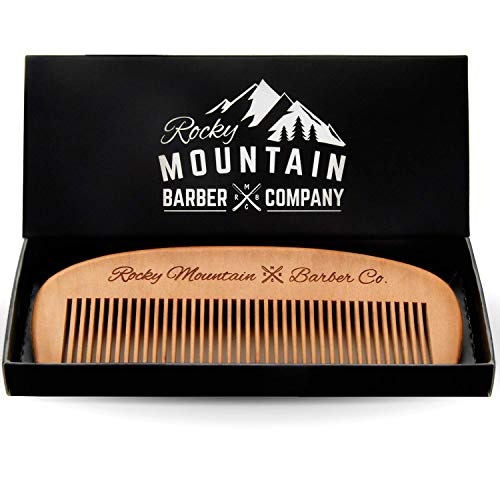 Hair Comb - Wood with Anti-Static & No Snag Handmade Brush for Beard, Head Hair, Mustache with High Quality Design in Gift Box by Rocky Mountain by Rocky Mountain Barber Company