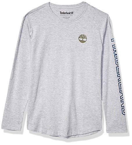 Timberland Jungen Long Sleeve Heathered Jersey Knit Tee Shirt Hemd, Hellgrau (Light Grey Heather), Klein