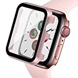 Ritastar for Apple Watch Cover with Screen Protector 42mm Series 3/2/1,Full Protection Aluminium Bumper Case and Thin Hard PET Protective Film,High Sensitive Touch,Impact Resistant,No Bubble,Rose Gold