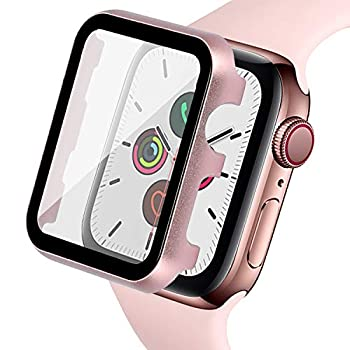 Ritastar Bumper Case for Apple Watch Screen Protector 40 mm with Metal Cover,HD Clear High Sensitive Protective Tempered Glass,Bubble-Free,Full Coverage for iWatch Series 6 SE 5 4 Women,Rose Pink