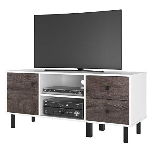 Homfa Fernsehtisch TV Board Lowboard für Fernseh Fernsehschrank mit 2 Schubladen TV Möbel TV Schrank aus Holz weiß&braun 119x52x40cm