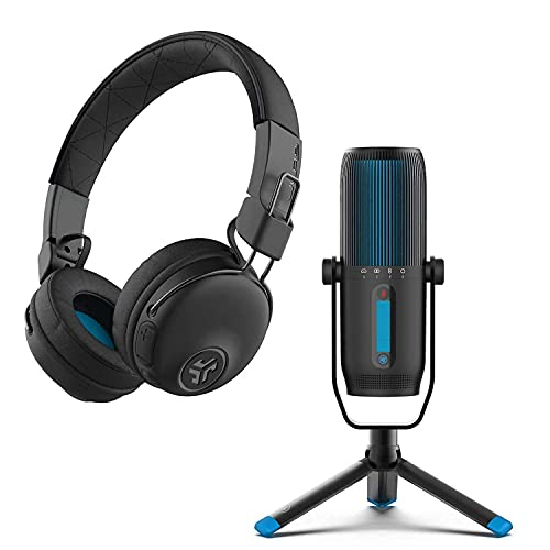 JLab Talk Pro USB Microphone + Studio Pro Over-Ear Wireless Headphones | for Conference Calls, podcasting, Voice Overs & Home Studios