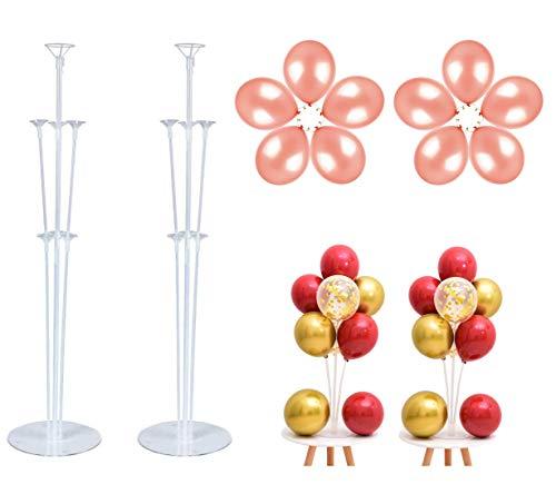 JIASHA 2 Piezas Soporte para Globos Trae 10 Globos,Clear Balloon Stand Kit Globos con Base, para Fiesta de Cumpleaños, Decoración de Boda,Fiestas en el jardín y Celebraciones