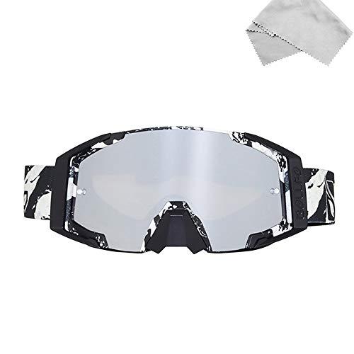 Sport im Freien Motorradbrille Bunt Motocross Brille Taktische Airsoft-Brille UV Schutz mit Mikrofaser Brillenputztuch für Skifahren Radfahren Snowboard Wandern Augenschutz (Weiß)