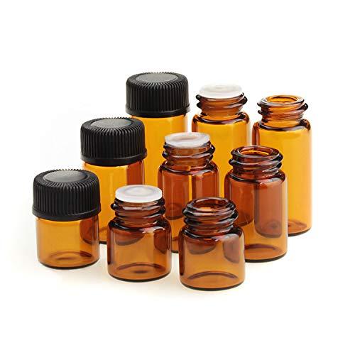 JAWSEU 50 unidades de 3 ml pequeñas botellas vacías de cristal marrón botellas cosmética cuentagotas de aceite esencial botellas para química, aromaterapia, cosmética recipiente para viaje