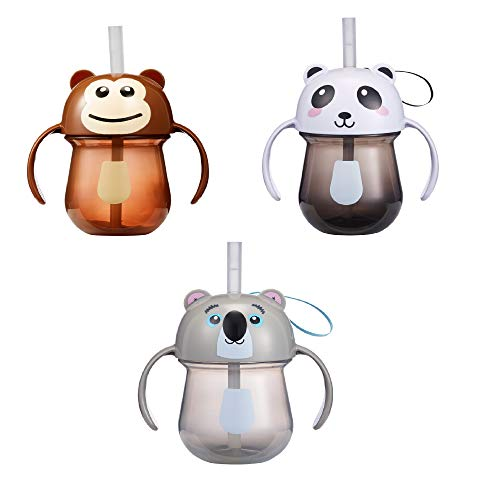 The First Years Animal Character Straw Trainer Cup - 7 oz, 3pk, Multi