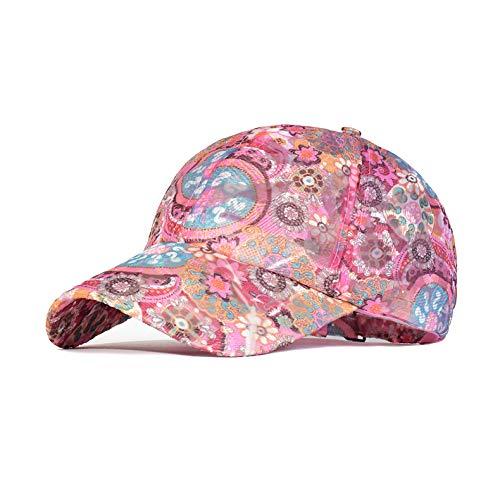 asx Gorra de béisbol de malla de primavera, para mujer, floral, transpirable, verano, bordada, para deportes al aire libre, de secado rápido, sombrero de ala ancha (color: rosa, tamaño: ajustable)