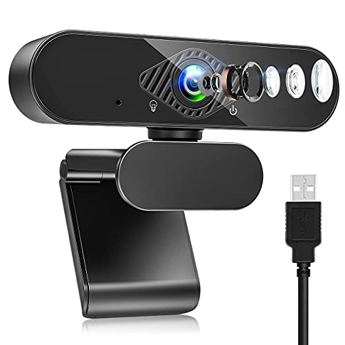 Teaisiy Webcam per PC, Webcam con Microfono HD 1080P 30PFS Può Essere Fisso per Videochiamate, Studio, Conferenza, Registrazione e Lavoro, Video Camera USB 2.0 per Desktop, Laptop, Smart TV (Nero1)