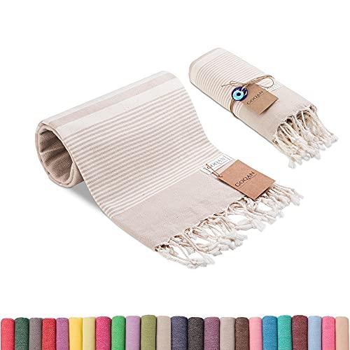 Realgrandbazaar Luna Turkish Towels Beach Towels %100 Cotton - Pre Washed Sand Free Quick Dry Soft 39x71 Bath Turkish Towel Beach Towel for Adults Oversized Clearance Goqan by realgrandbazaar (Beige)