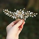 Handcess - Peines para el pelo de novia con diamantes de imitación plateados, accesorios para el pelo y tocado para mujer (dorado)