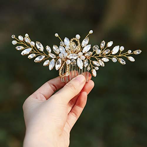 Haarkamm für Hochzeiten von Handcess, Silber mit Strasssteinen, blauem Opal, Kristall, Vintage-Haarschmuck für Bräute und Brautjungfern (gold)