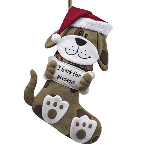 Valery Madelyn 21 inch Joyful Pet Christmas Stockings Personalized 3D Puppy Dog Stockings with Christmas Hat (Pet Collection)