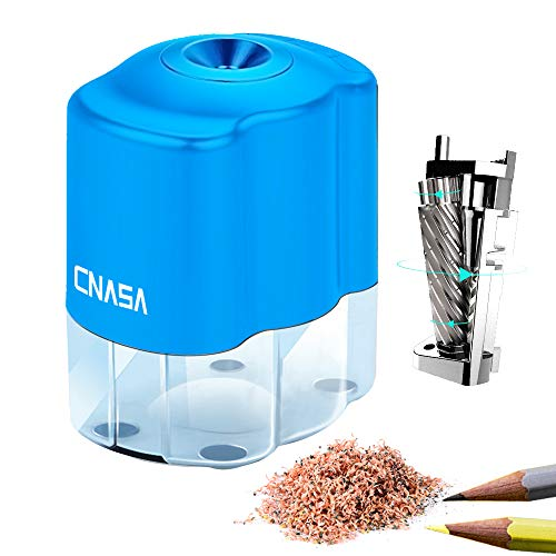 Electric Pencil Sharpener with Auto-stop Feature for No.2 Pencils and Colored Pencils(6-8mm) Pencil Sharpener with Helical Blade for Classroom Home Office Adapter Included (Blue)