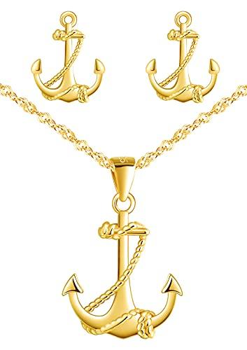 Yumilok Juego de collar y pendientes de plata de ley 925 con colgante de ancla para mujer y niña, Plata esterlina,