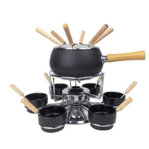 FGC Carrusel para fondue de queso y chocolate, juego de cacerolas para bourguignonne con protección contra salpicaduras, quemador, tenedores, cucharones y cuencos para 6 personas, y soporte de mesa