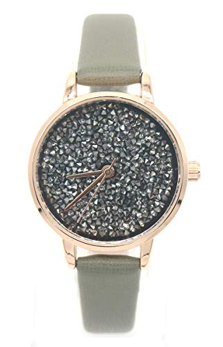 Dielay dameshorloge met kristallen armband PU kunstleer behuizing 30 mm kwarts
