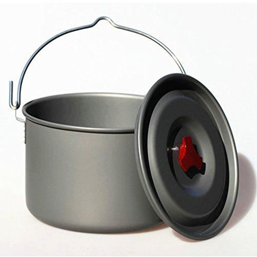 wiskedi rect 5L Pot suspendu camping Pot de Ragoût libre Pot Suspendues en aluminium pour 4–5 personnes Cuisson Camping Feu de Camp de Fête