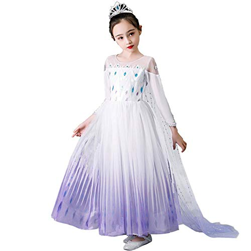 Iwemek 2 disfraces de reina del hielo Elsa para nia, vestido de princesa de nieve, con copos de nieve, vestido de tul, para Navidad, carnaval, fiesta de cumpleaos D  Violeta. 9-10 Aos