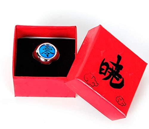 Japansai Anime Naruto Sharingans Akatsuki Uchiha Itachi anillo para Cosplay caja roja embalado (Azul (Pain Nagato))