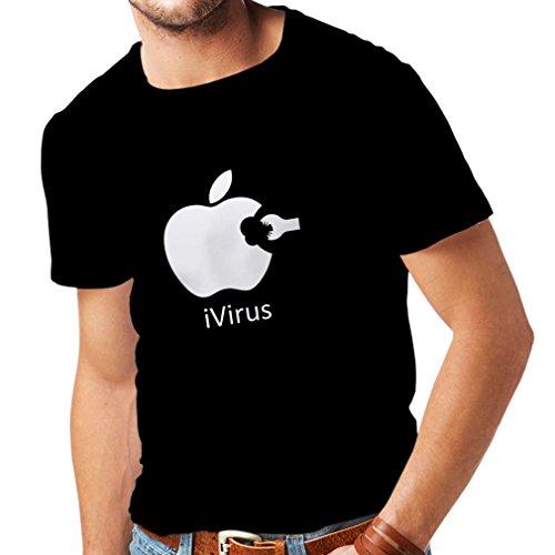 lepni.me Camisetas Hombre iVirus - Regalo Divertido del Amante de la Nueva tecnología (XXXX-Large Negro Blanco)