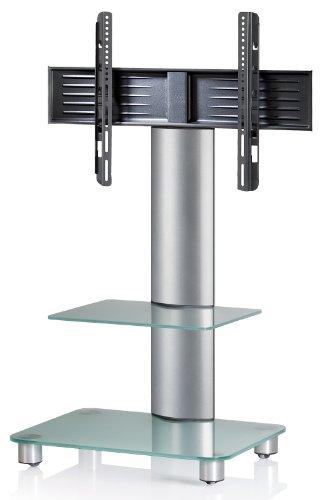 VCM Tosal Silber-Soporte Vertical de TV, con estantes, Ruedas Incluidas, Cristal Opaco