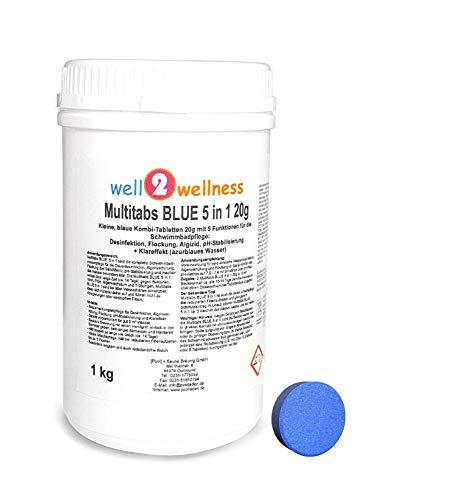 well2wellness Chlor Multitabs Blue 5 in 1 20g / kleine Blaue Multitabs 5 in 1 a 20g - 1,0 kg