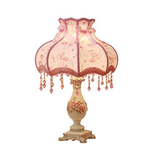 &LiseuseLampe De Table à Décor Européen , Lampe De Bureau en Tissu à Sculpture en Résine , Bouton/Gradateur/Interrupteur à Distance , Salon Canapé Chambre ChevetLampe (Color:Interrupteur à Bouton)