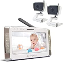 Moonybaby Trust 50-2 Long Range Baby Monitor with 2 Cameras, 5 Inches Large Screen, Long Battery Life, Talk Back, Auto Night Vision, Lullabies and Power Saving/Voice Activation