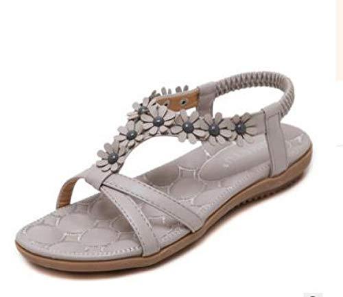Sandali da Donna Dolci Fiori Bohémien Scarpe da Donna Grandi Scarpe Piatte comode @ Grigio_39