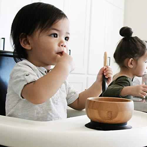 Smart Start Avanchy アヴァンシー ひっくり返らない 竹食器 ボウル 吸盤・スプーン付き ブラック