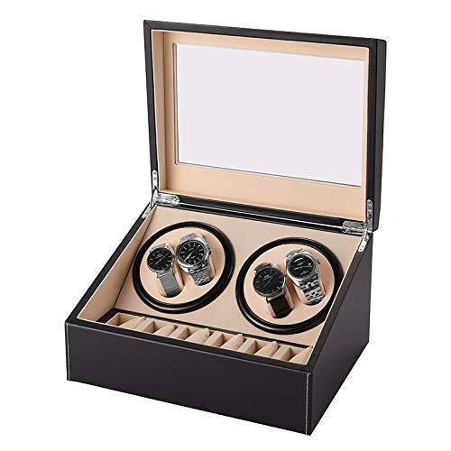 YUYANDE Winder de reloj automático - Motores japoneses tranquilos, 4 relojes 6 Posición de almacenamiento Reloj automático Reloj de bobinado giratorio Caja de almacenamiento, Caja de reloj de almacena