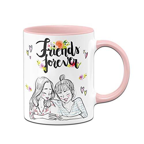 Tassenbrennerei Tasse Friends Forever- Freunde für Immer - Geschenk für Beste Freundin zum Geburtstag, Weihnachten (Rosa)