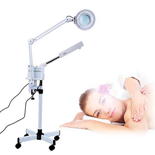 Vapeur Visage, 3 en 1 UV Ozone Face Steamer Lumière Froide LED 5X Loupe Lampadaire Facial Corps Tatouage Maquillage Lampe Beauté Spa Salon Outil