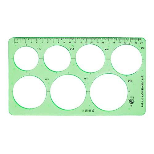 Goodplan Schablonenlineal Kunststoff Kreis Schablone Lineal aushöhlen Zeichnung Vorlagen für Büro und Schulbedarf 1 Stück hellgrün