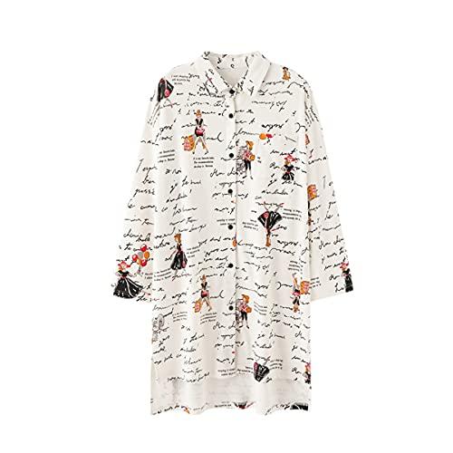 DEBAIJIA Mujer Camisón Ropa de Dormir Manga Larga Camisones Señora Vestido de Dormir Estampado Ocio Suelto Lindo (Beige-L)