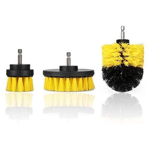 Pumbaa 3 Pcs/Set Tile Grout Power Scrubber Cleaning Drill Brush Tub Cleaner Combo Yellow