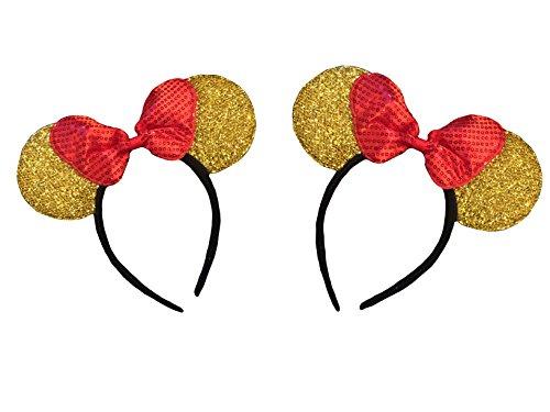 Mickey/Minnie Maus Ohren für Jungen, Mädchen, Kinder, Erwachsene, Halloween - Gold - Einheitsgröße
