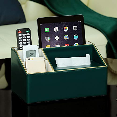 ZXINHOME Coffee Table Storage Box Living Room Debris Desktop Tissue Paper Remote Control Multifunctional for TV Caddy E-Reader Mobile Pencil Cosmetic(PU) (Color : Green)