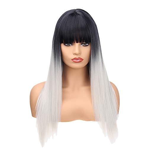 Peluca larga para mujer, larga recta, color negro y gris, degradado, peluca sintética resistente al calor, fibra resistente al calor, para mujer
