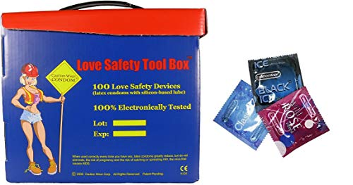 Love Safety Tool Box Lubricated Latex Condoms - Combo Pack 34 Qty of Classic - 33 Qty of Wild Rose - 33 Qty of Black Ice