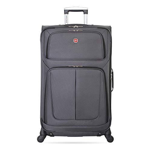 SwissGear Sion Softside Luggage with Spinner Wheels, Dark Grey, Checked-Large 29-Inch