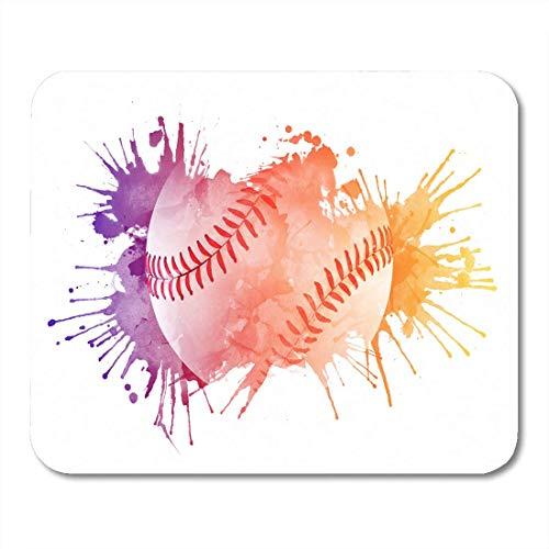 AOHOT Mauspads Watercolor Softball Baseball Ball Paint Rainbow Activity Competition Mouse pad 9.5