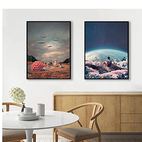 Xuetaozz Póster de la tierra del universo cielo nocturno nave espacial arte de pared pintura en lienzo ciencia ficción moderna decoración para sala de estar,50x70cmx2 sin marco