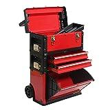 Cajas de herramientas Caja de herramientas apilable Rolling Mobile Organizer Case con telescópico  Manija de agarre Carrito vertical con ruedas y cajones Gabinetes de herramientas Almacenamiento mult